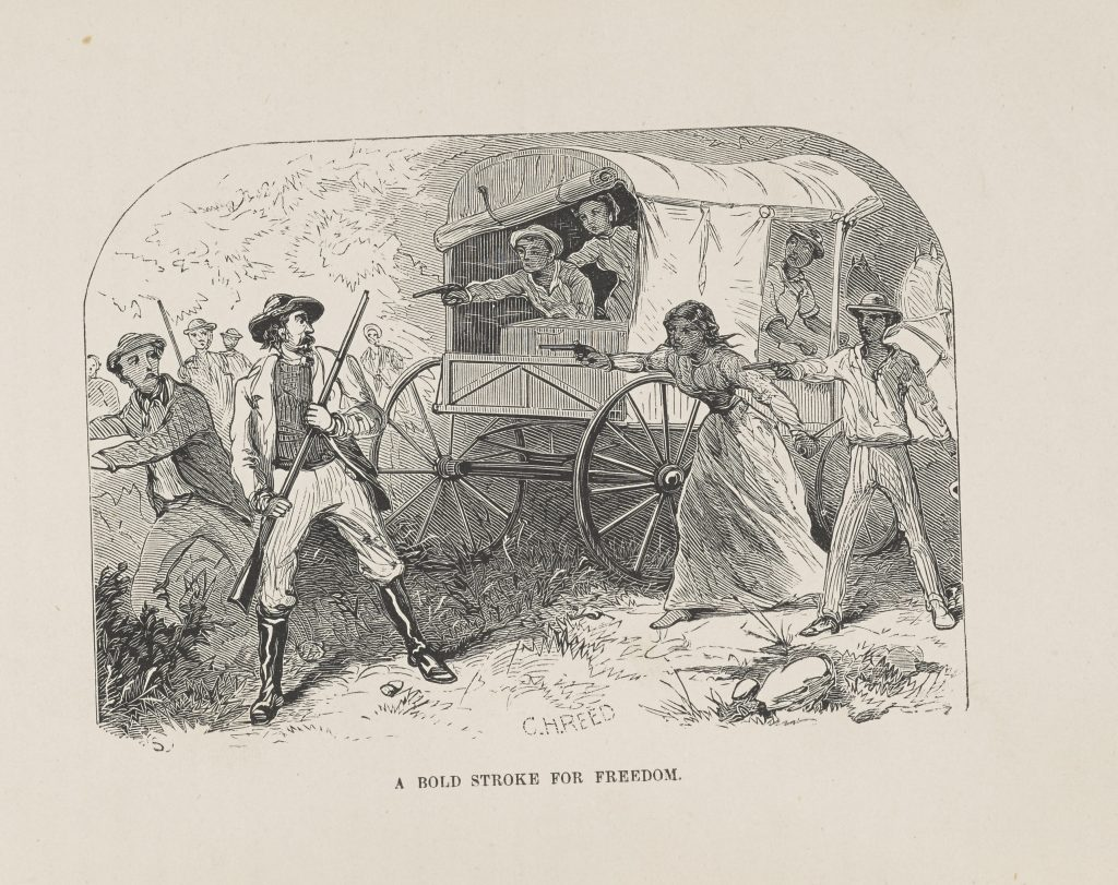 Self-emancipating enslaved in a covered wagon draw pistols against white pursuers