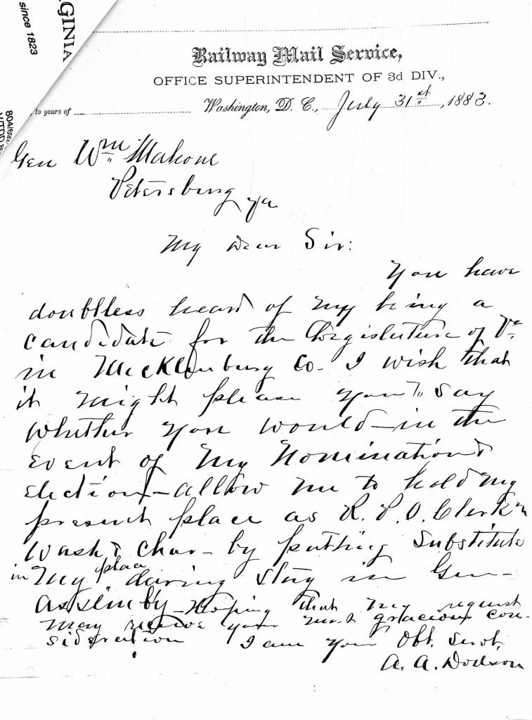 Letter from Amos A. Dodson to William Mahone