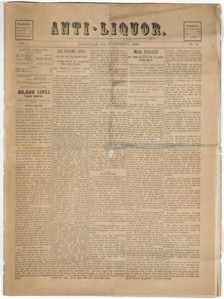 Anti-Liquor Newspaper