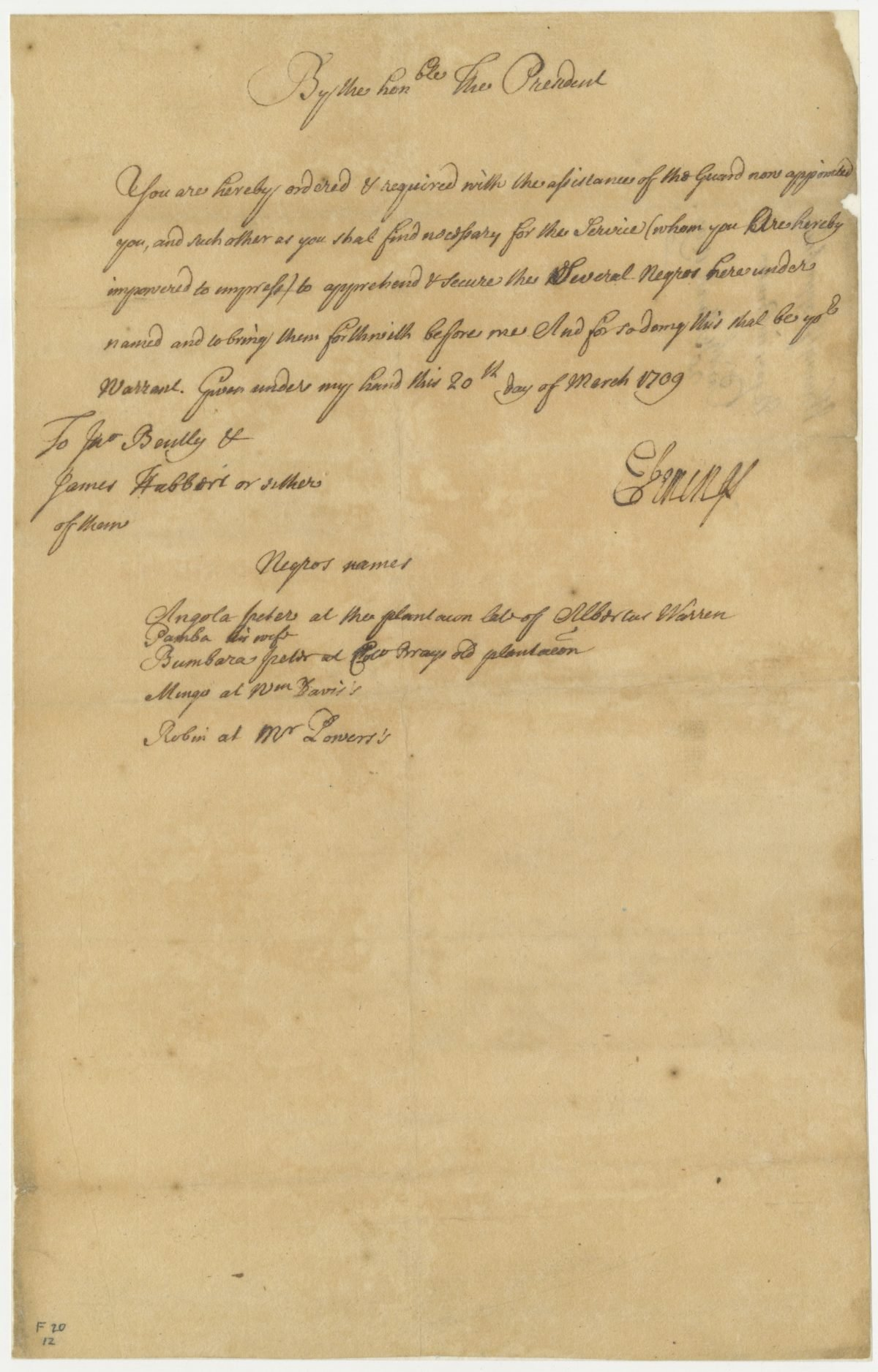 Proclamation from Edmund Jenings
