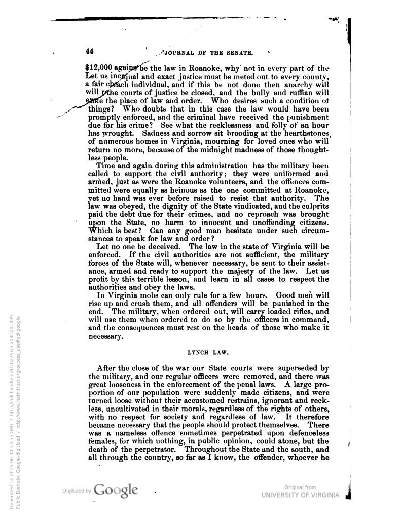 Journal of the Senate of the Commonwealth of Virginia (1893)