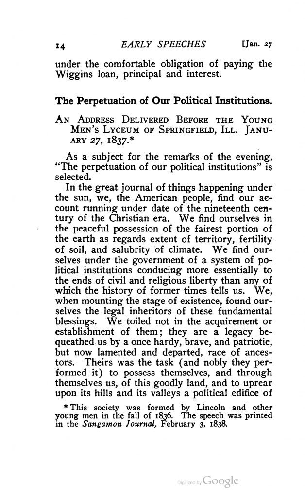 Early Speeches 1832—1836 by Abraham Lincoln (1907)
