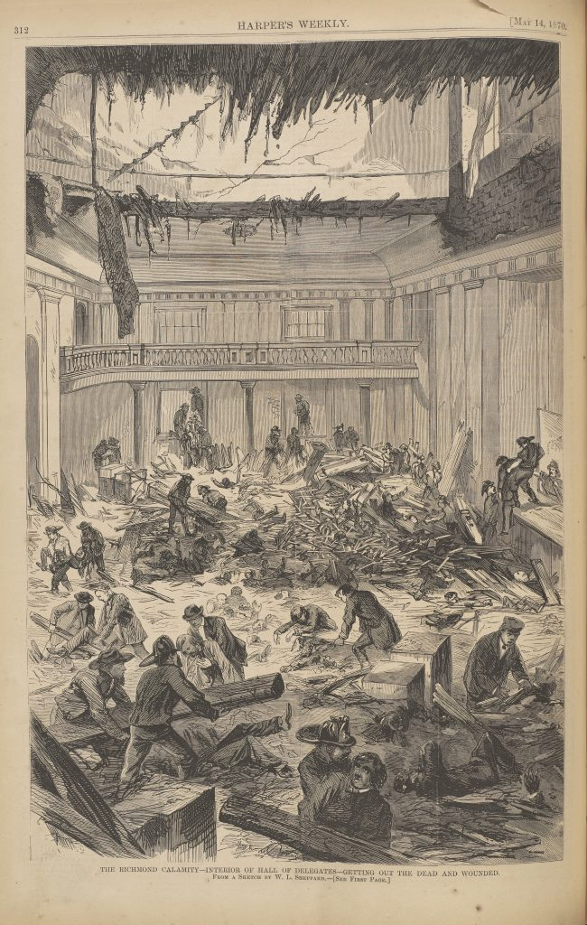The Richmond Calamity—Interior of Hall of Delegates—Getting Out the Dead and Wounded.