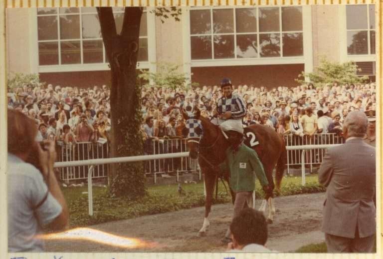 Jockey atop Secretariat at the Belmont Stakes