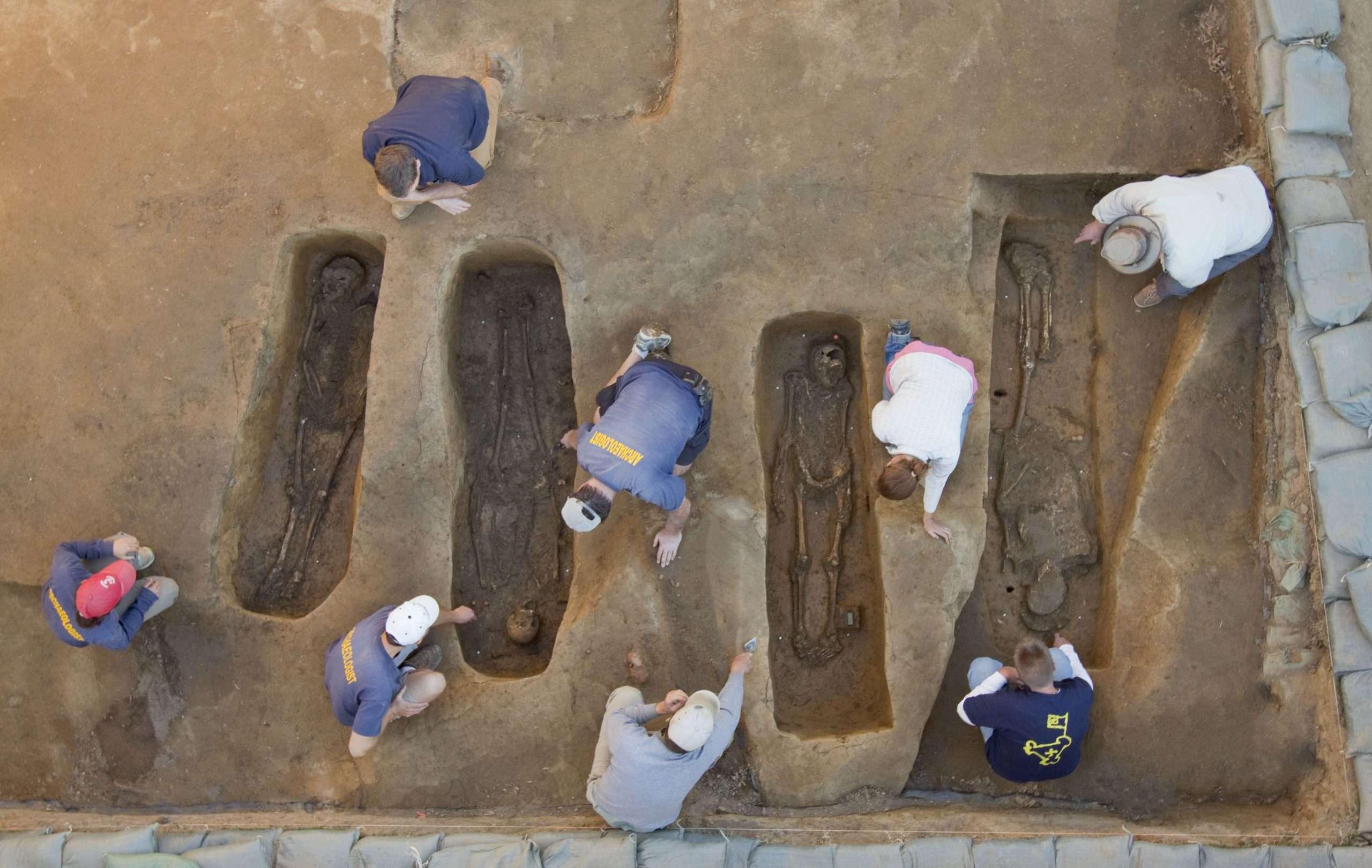 Gravesites in the 1608 Church at Jamestown