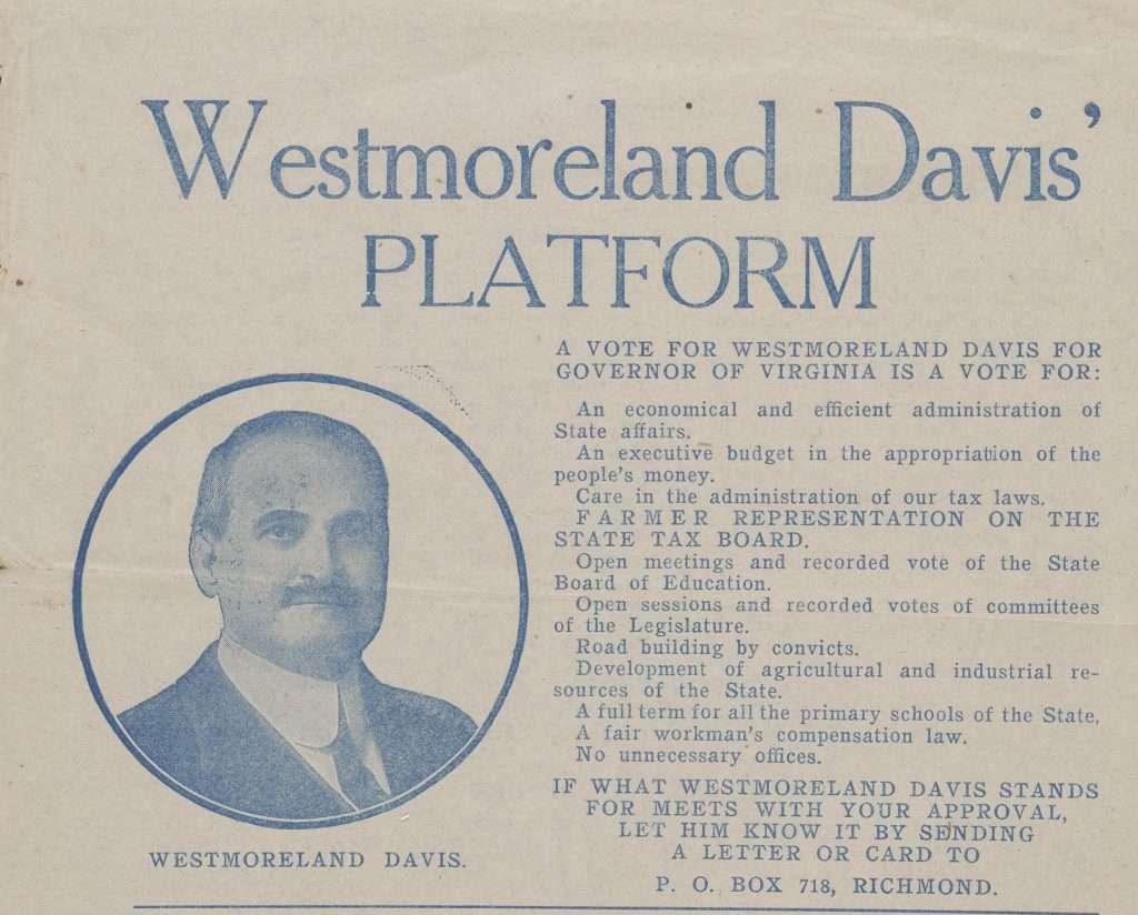 Westmoreland Davis' Platform