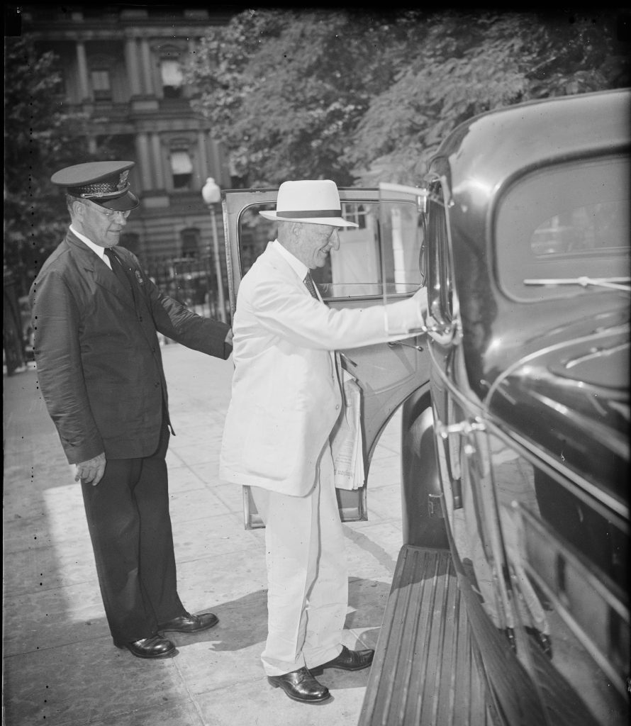 Carter Glass After Meeting with President Franklin D. Roosevelt