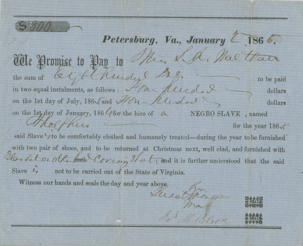Preprinted contract for hiring out an enslaved laborer