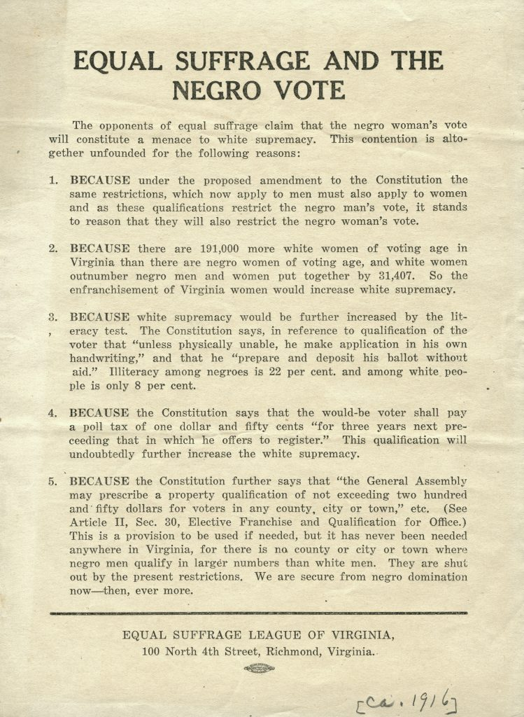 Equal Suffrage and the Negro Vote