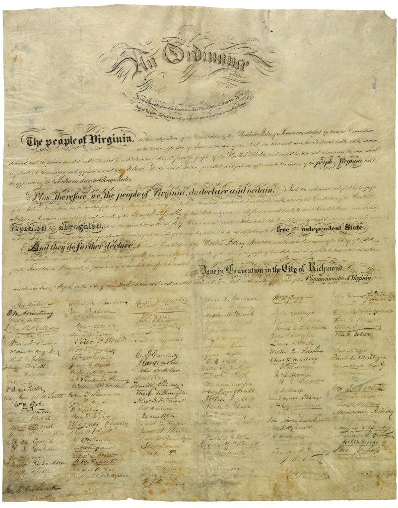 Virginia's Ordinance of Secession