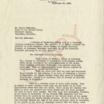 Letter from Walter A. Plecker to Turner McDowell (September 27