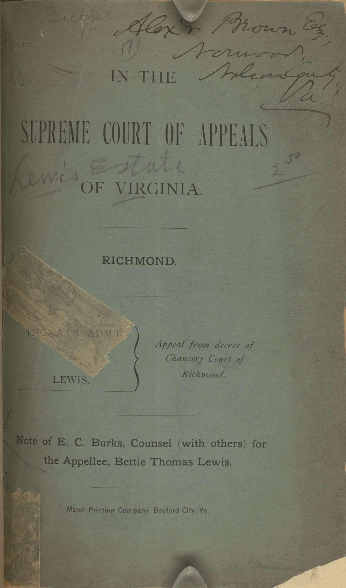 Note of E. C. Burks