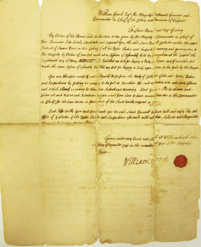 Lewis Burwell's Appointment by Sir William Gooch