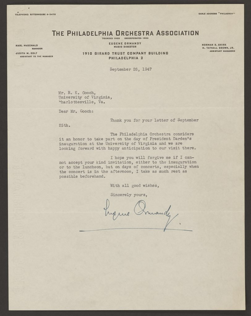 Letter from Eugene Ormandy to Inauguration Committee