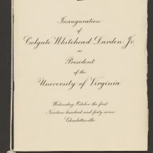 Invitation to the Inauguration of Colgate W. Darden as President of the University of Virginia