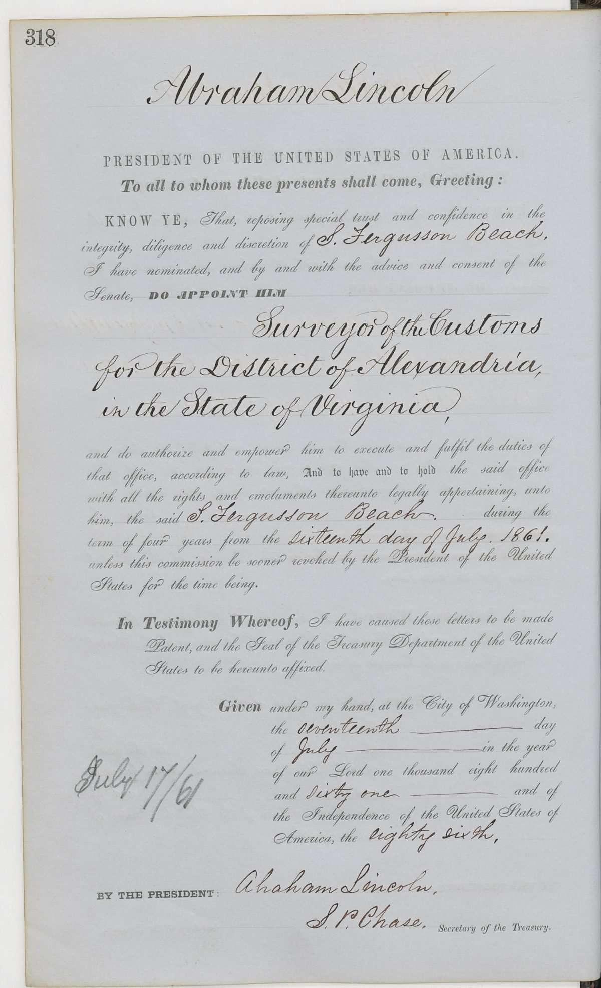 S. Ferguson Beach's Appointment as a Customs Surveyor