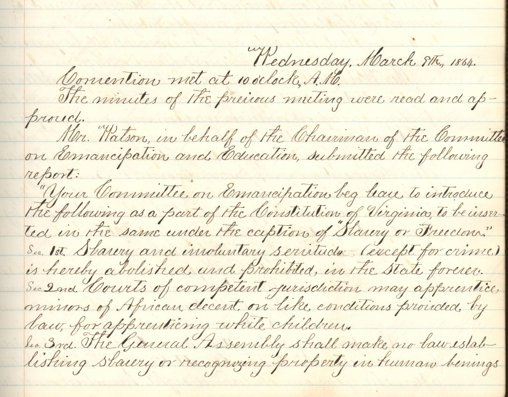 Minutes from the Constitutional Convention of 1864