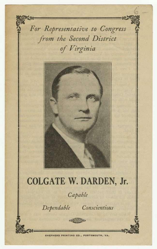 Colgate W. Darden's 1938 Political Campaign