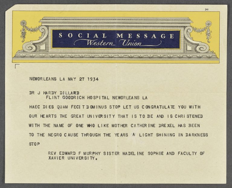 Telegram Concerning Dillard University