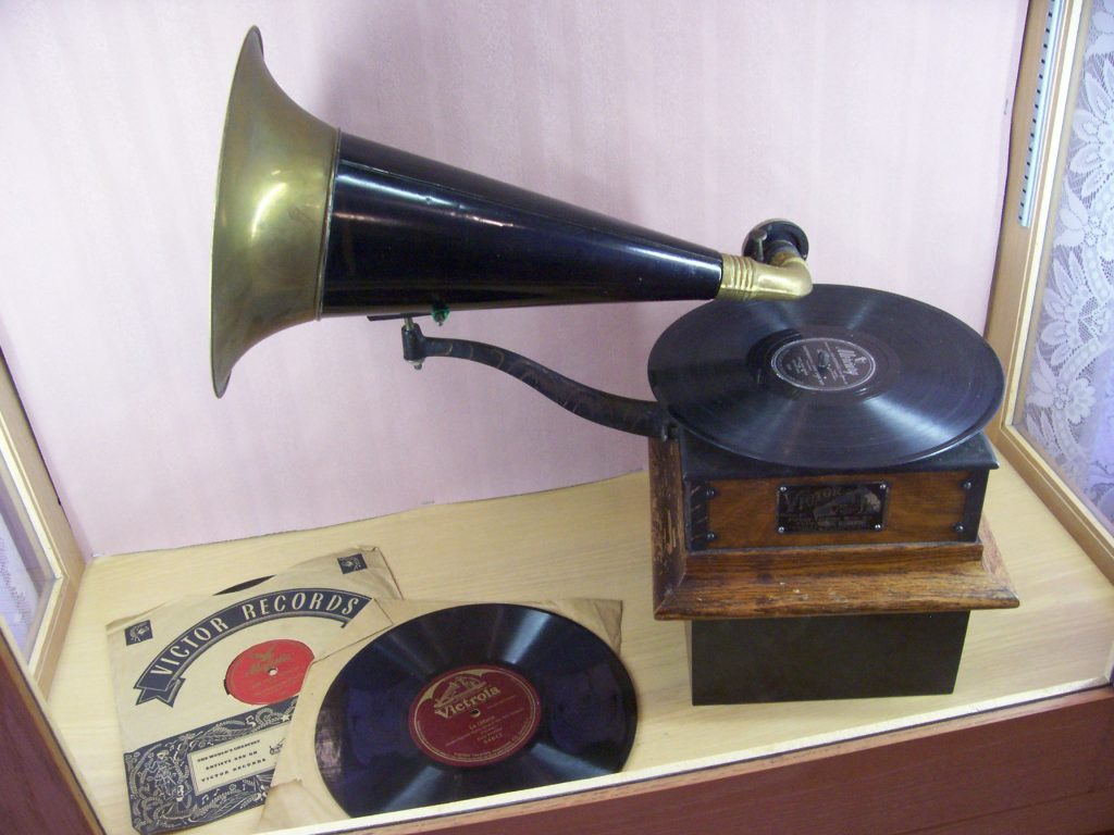 A Victor Talking Machine and Records