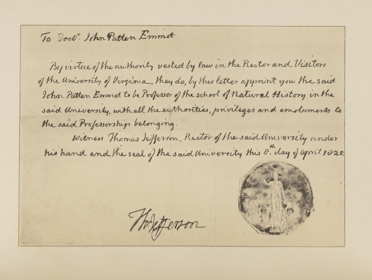 John Patten Emmet's Appointment as a Professor at the University of Virginia