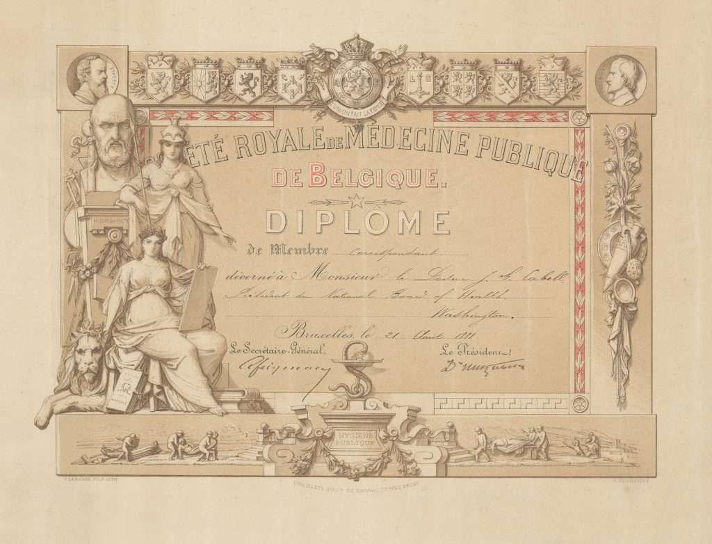 Société Royale de Médecine Publique de Belgique. Diplome