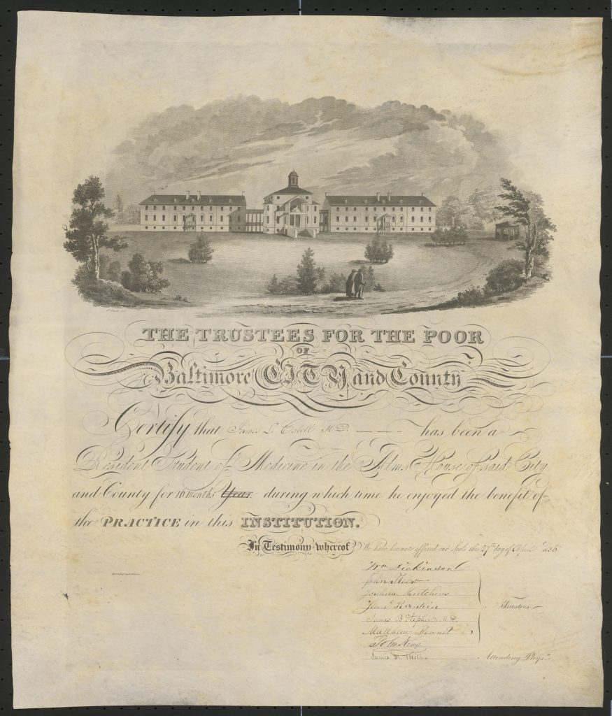 Medical Certificate from the Baltimore Alms House