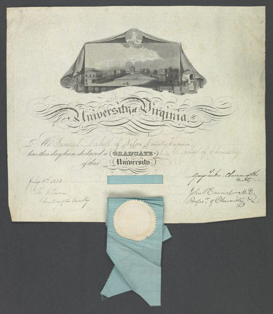 Diploma from the University of Virginia's School of Chemistry