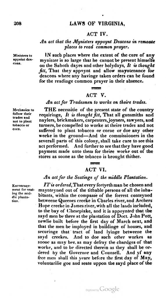 The Statutes at Large; Being a Collection of All the Laws of Virginia from the First Session of the Legislature in the Year 1619 (1823)