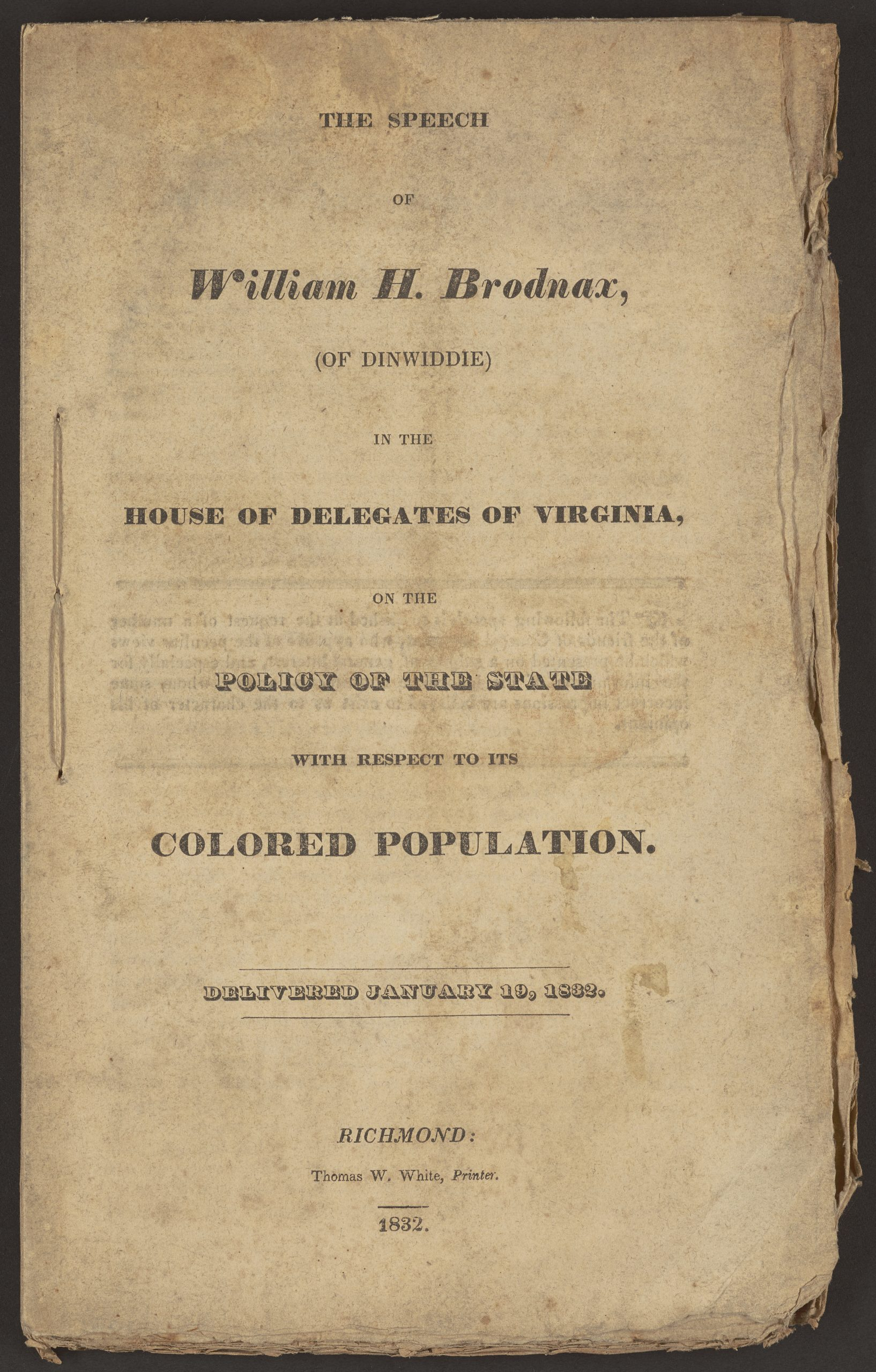 The Speech of William H. Brodnax