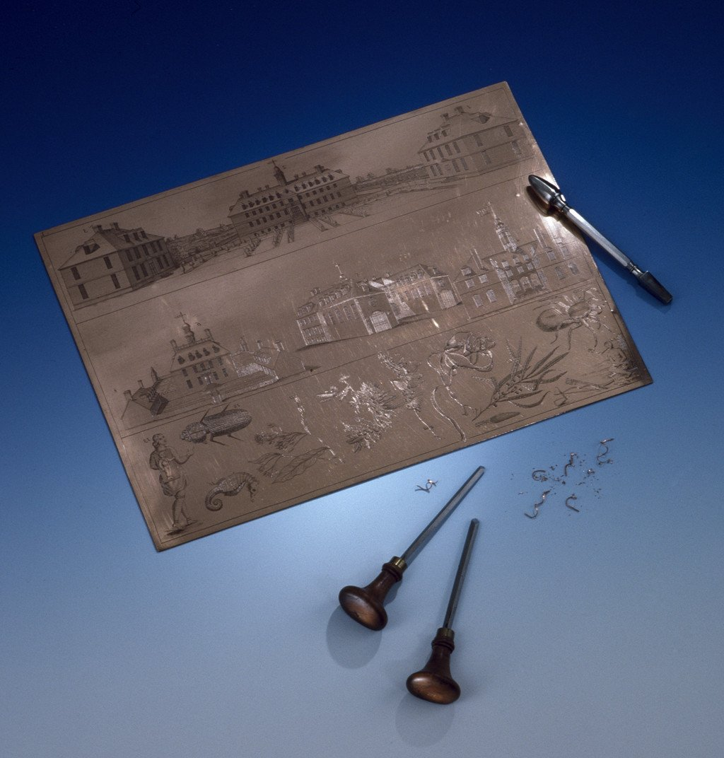 Engraved Copperplate of Colonial-Era Williamsburg