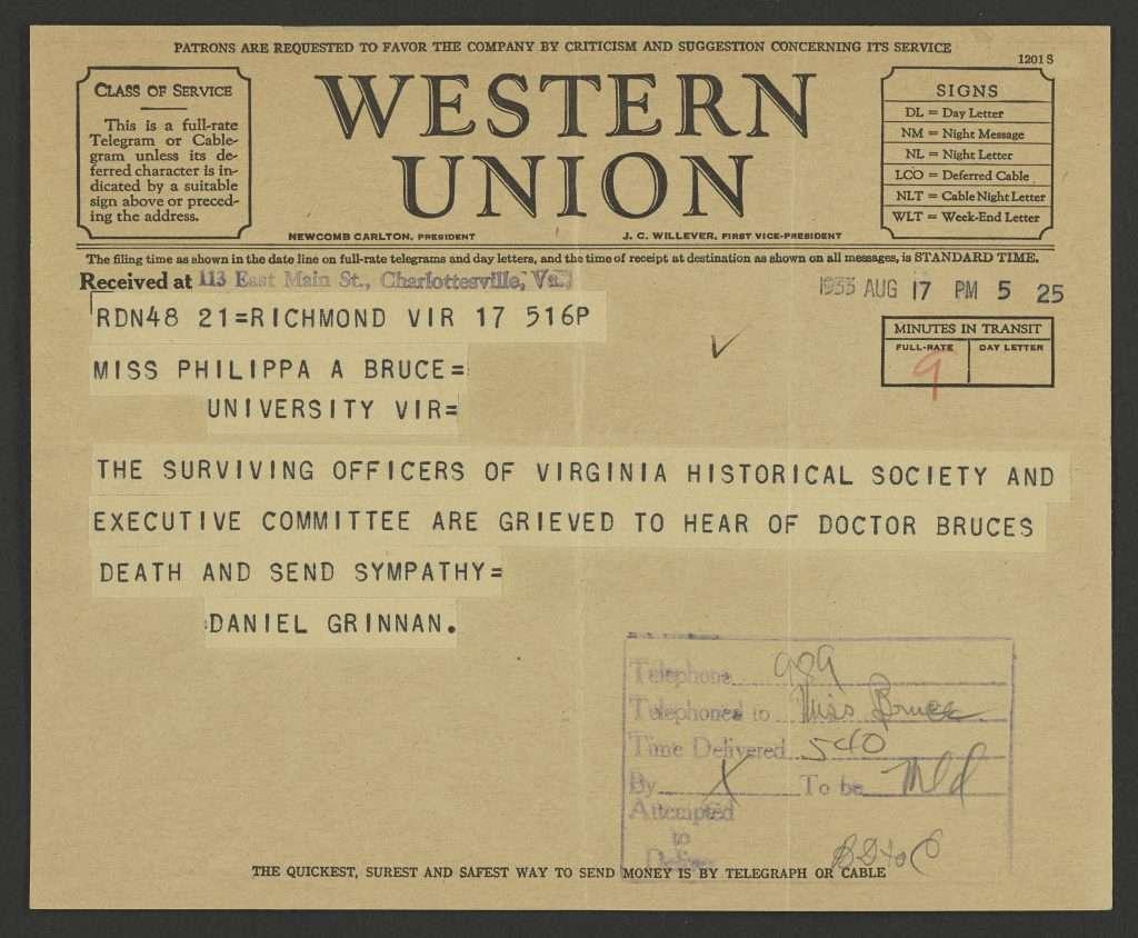 Telegram of Condolence