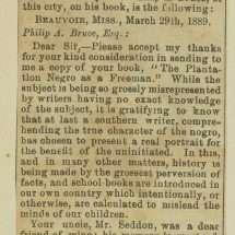 Letter from Ex-President Davis.