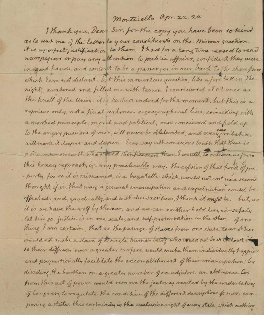 Letter from Thomas Jefferson Letter to John Holmes