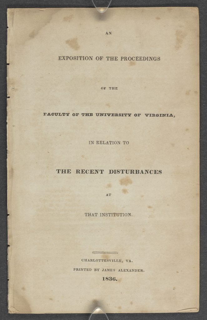 An Exposition of the Proceedings of the Faculty of the University of Virginia