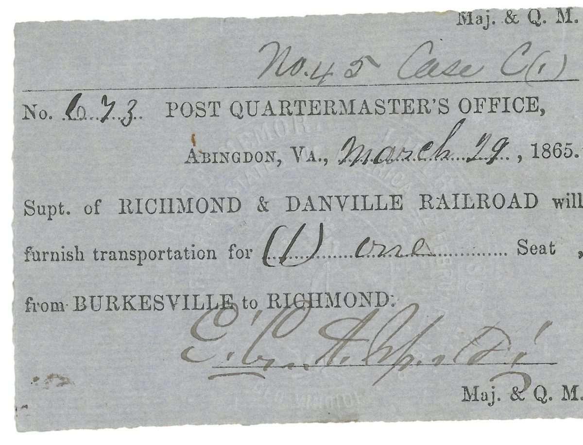 Richmond and Danville Railroad Ticket