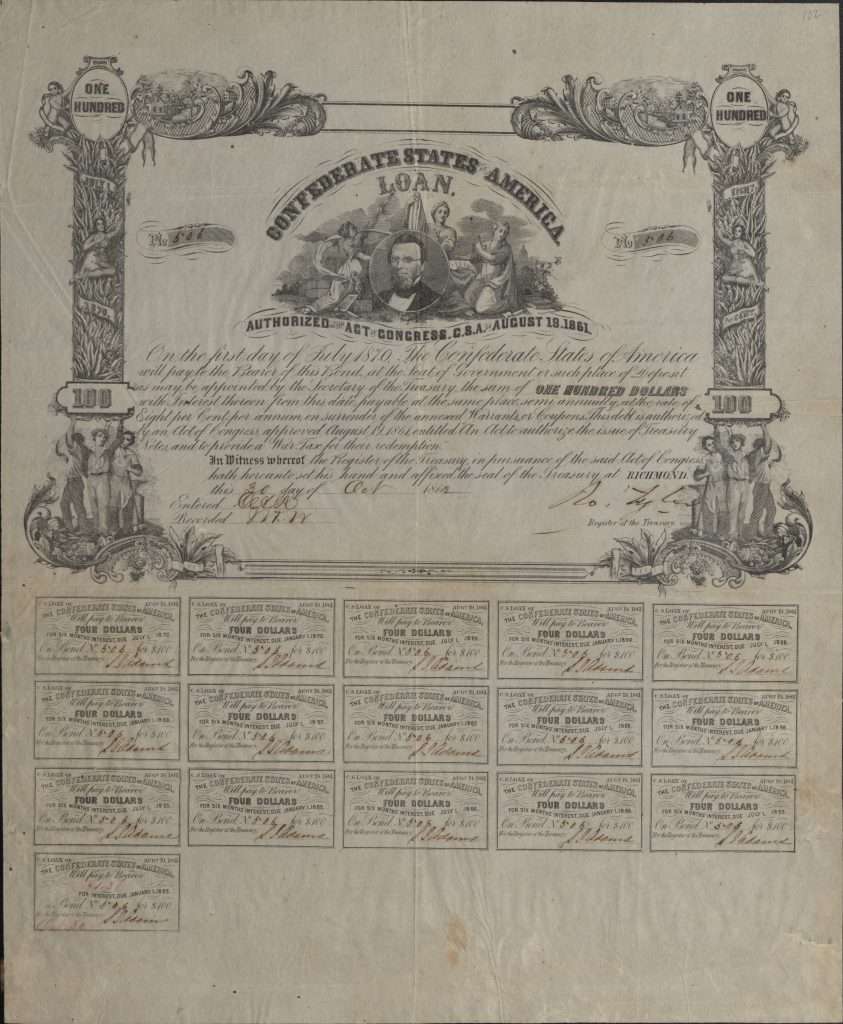 Confederate Treasury Bond