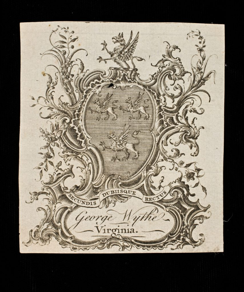 George Wythe's Bookplate
