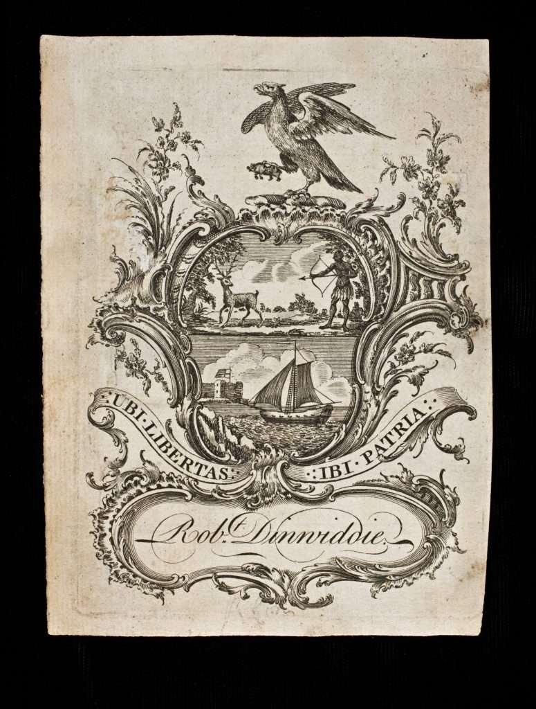 Bookplate Belonging to Robert Dinwiddie