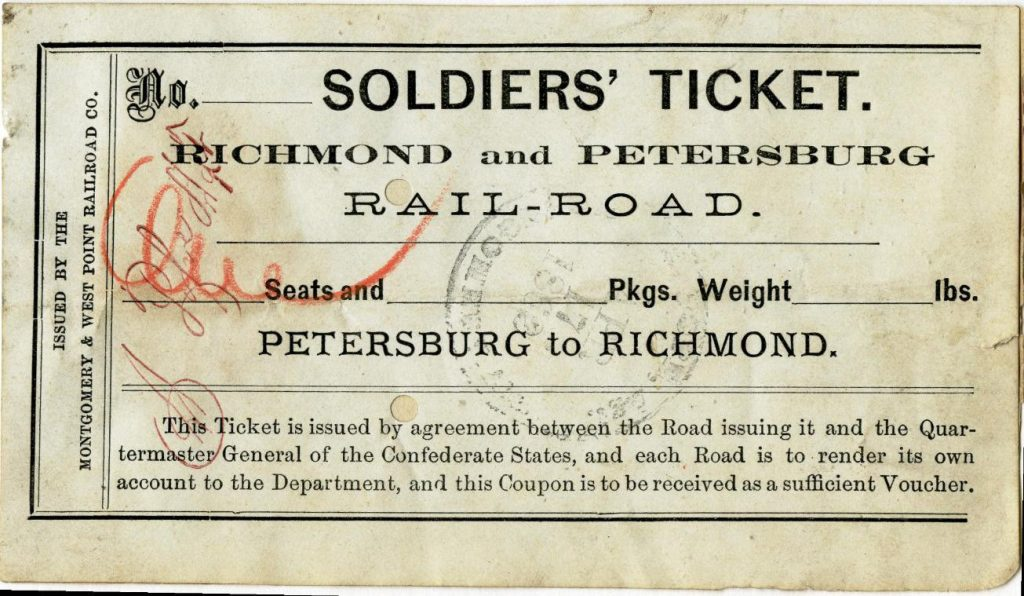 Richmond and Petersburg Railroad Ticket