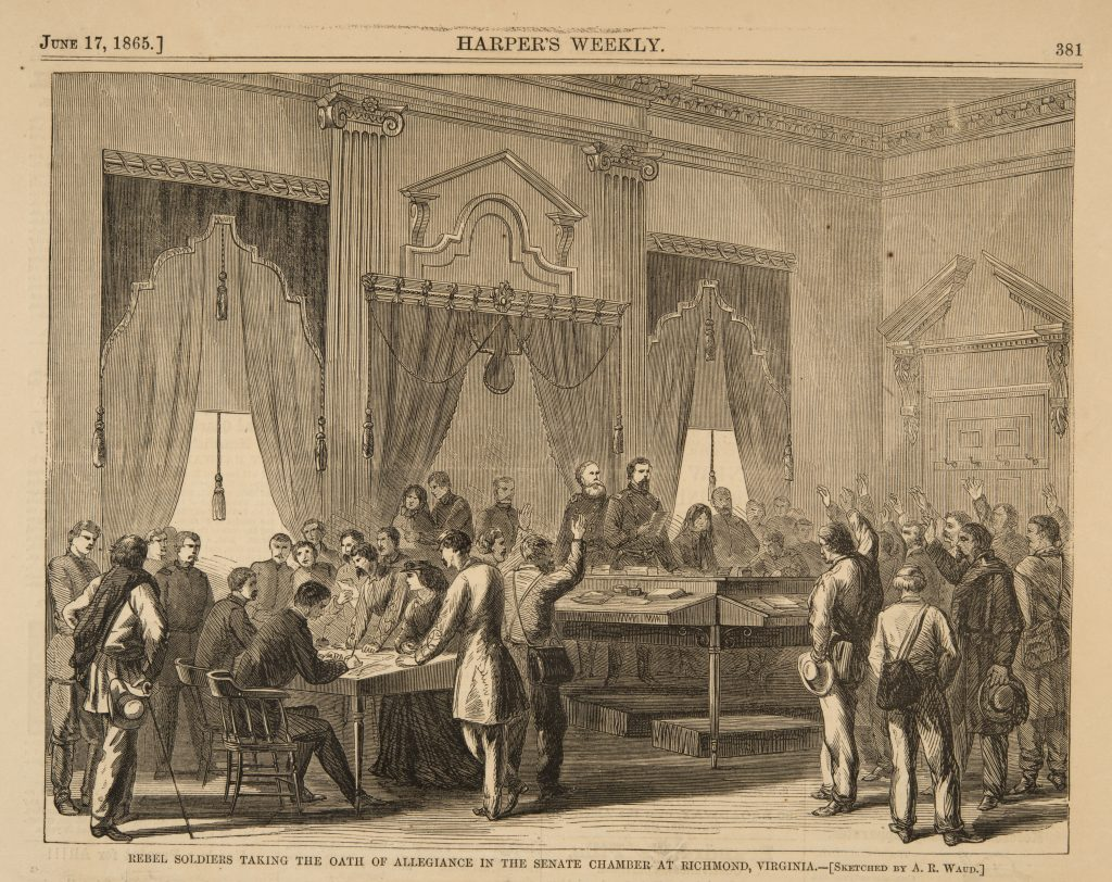 Rebel Soldiers Taking the Oath of Allegiance in the Senate Chamber at Richmond