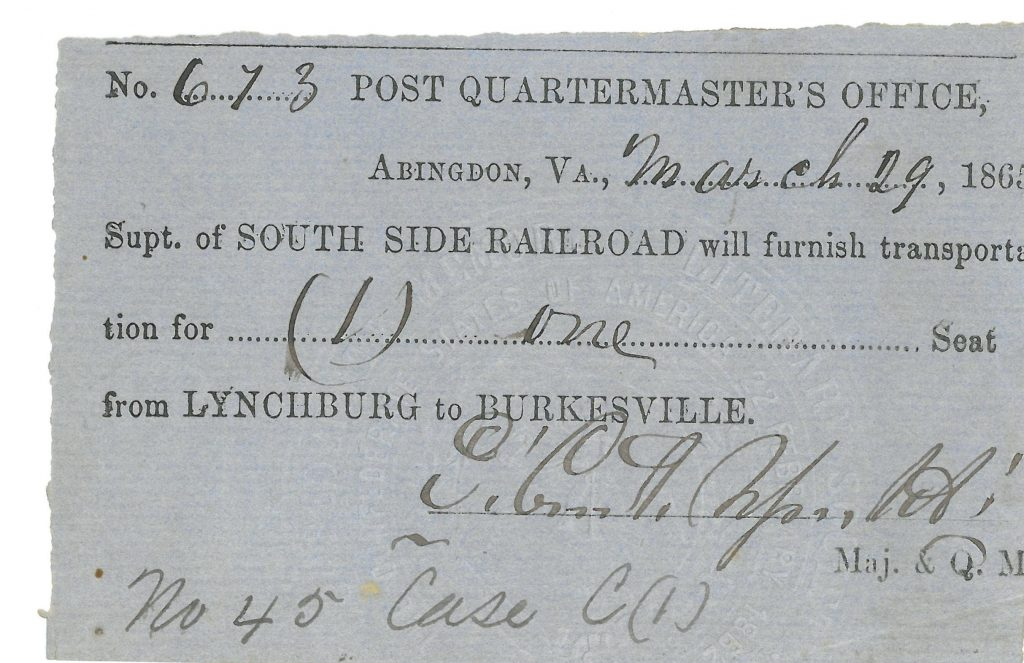 South Side Railroad Ticket