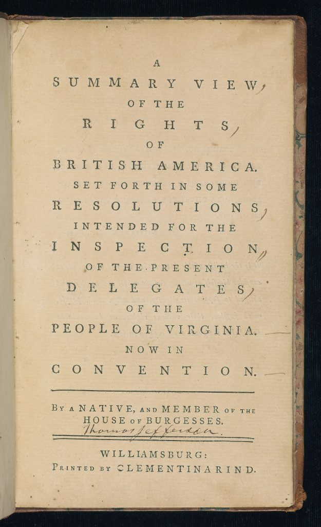 A Summary View of the Rights of British America.