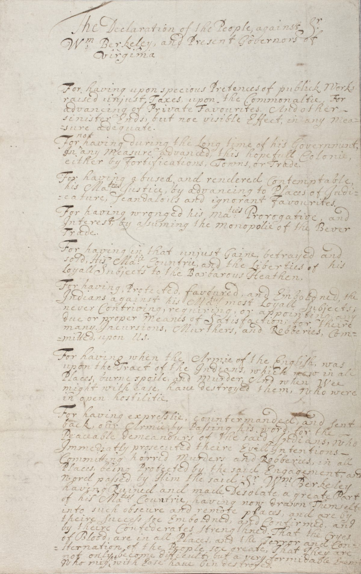 Nathaniel Bacon's Declaration of Grievances