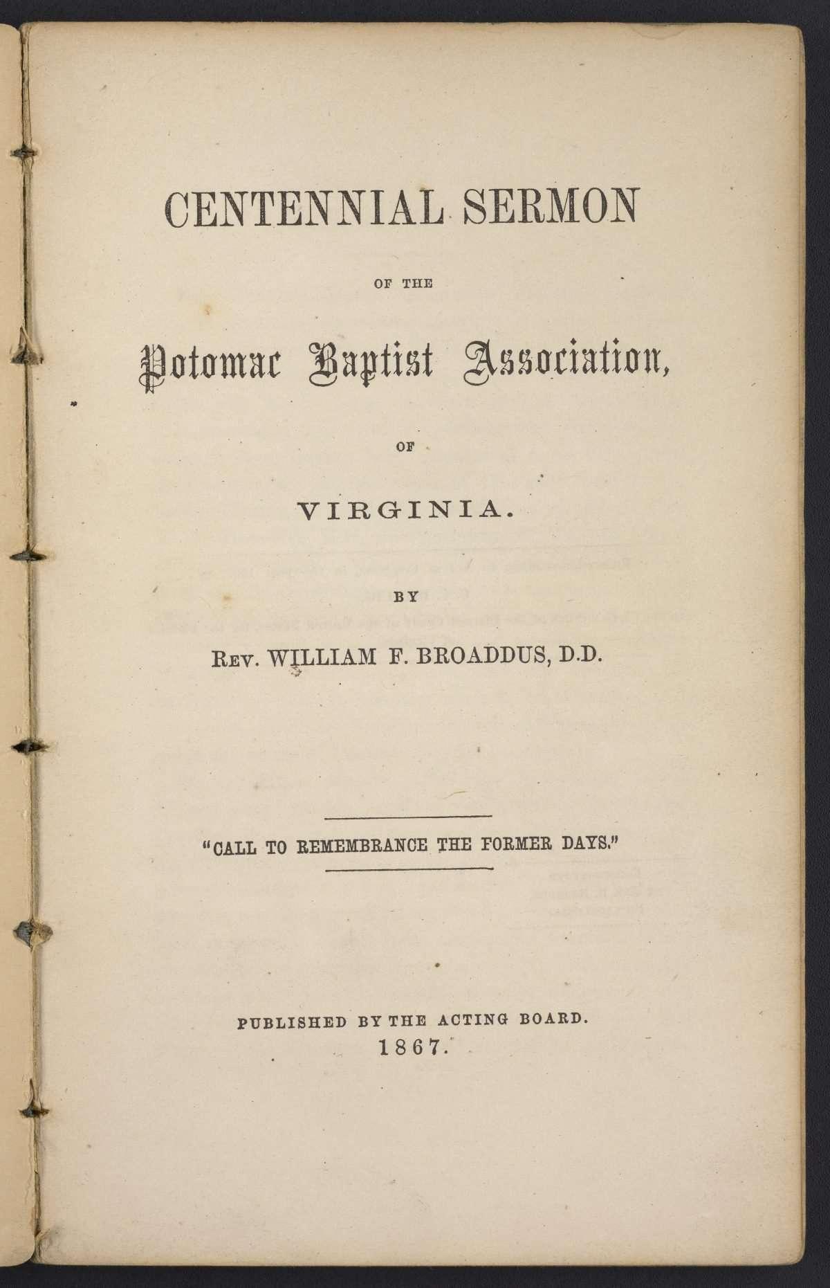 Centennial Sermon of the Potomac Baptist Association