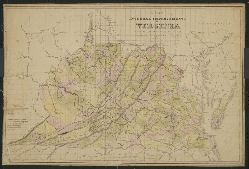 A Map of the Internal Improvements of Virginia