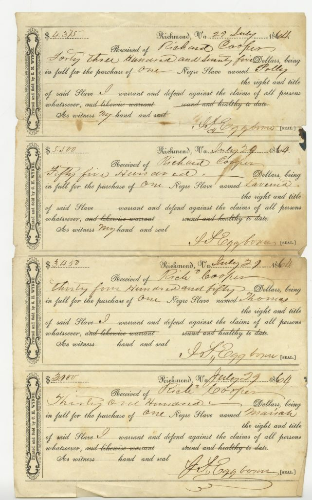 Slave Sale Receipts