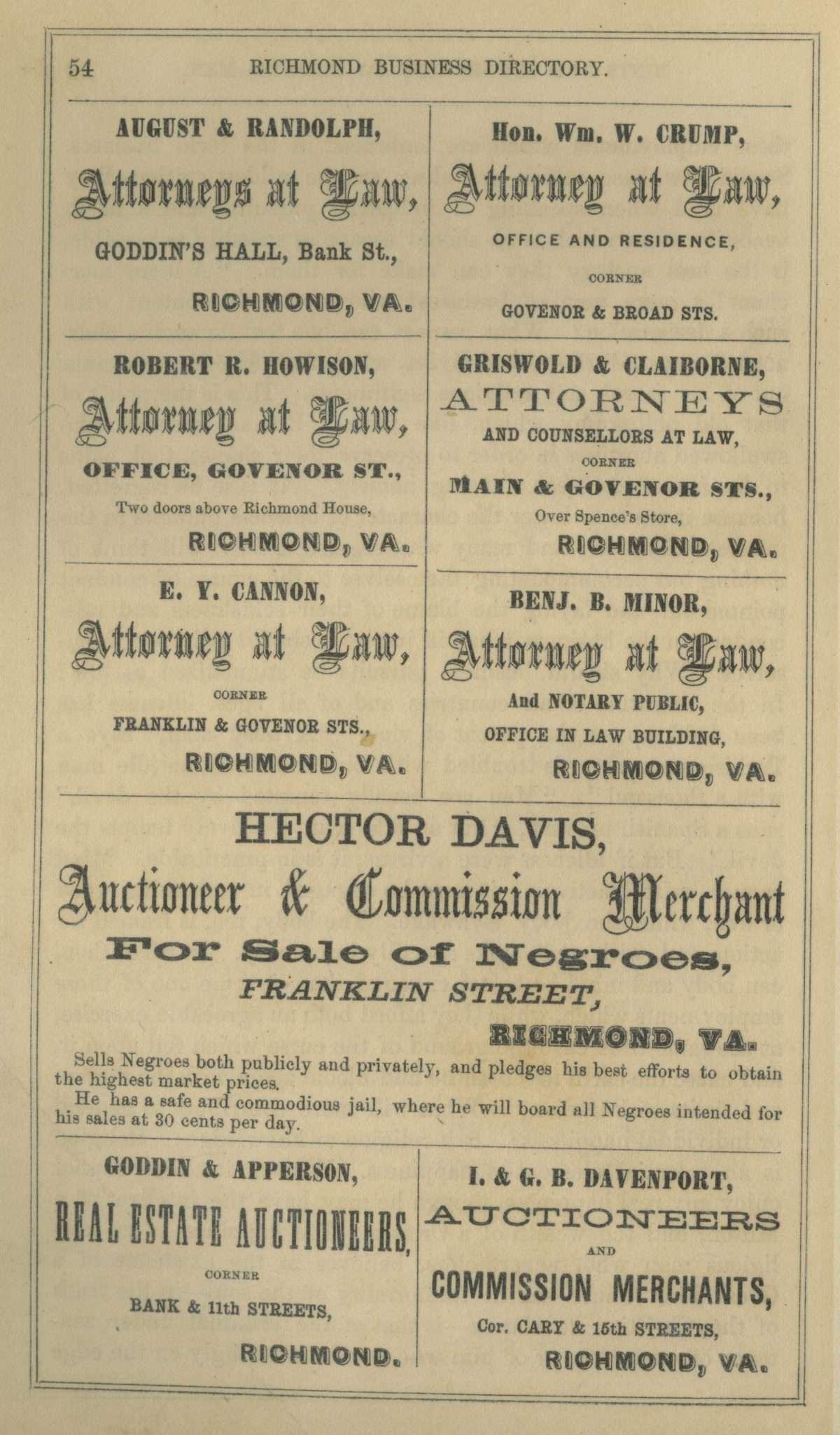 Hector Davis's Slave Business