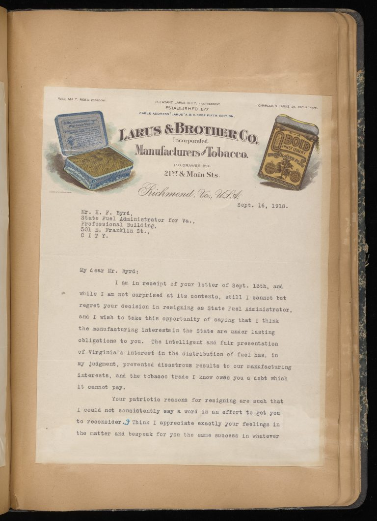 Letter from Tobacco Company President