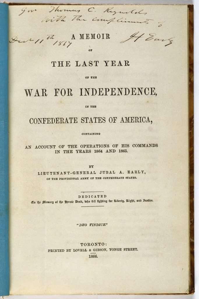 Jubal Early's Memoir